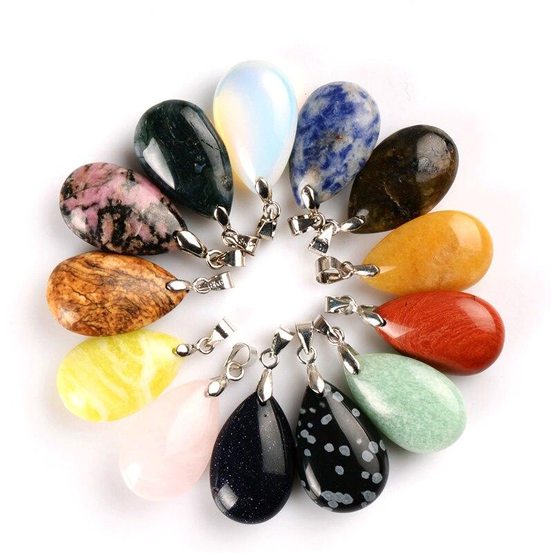 Colgantes de gota de agua de piedra Natural surtidos péndulo cristal fluorita Opalite Chakra obsidiana Sanación Reiki cuentas y envío gratis