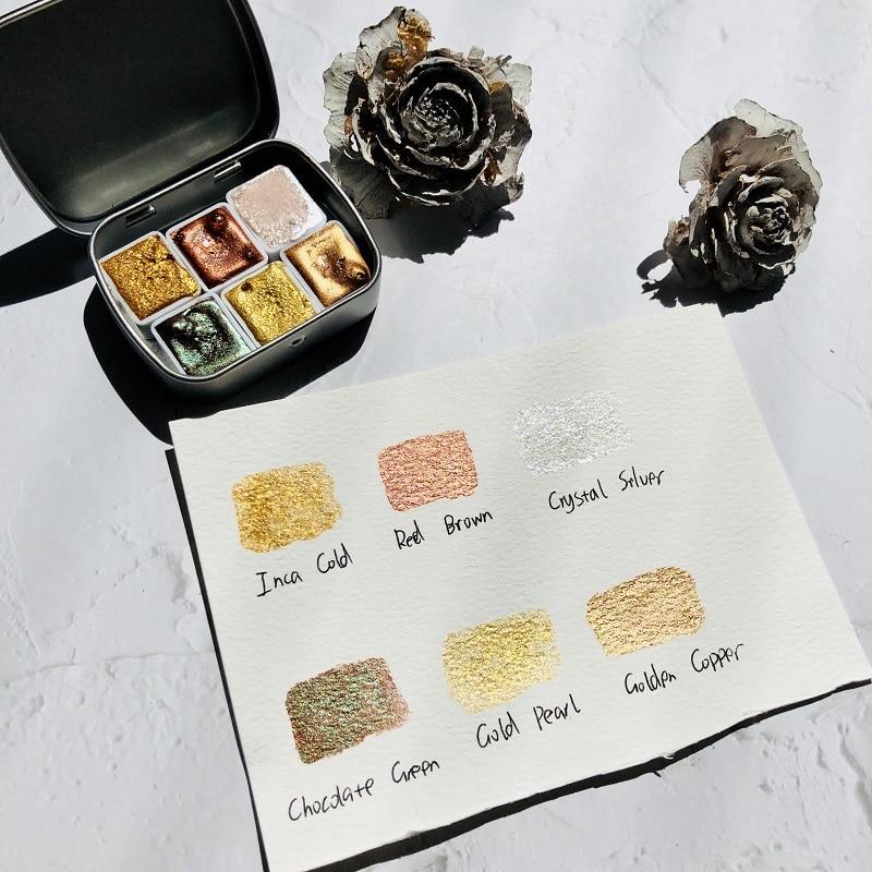 Набор металлических перламутровых акварельных пигментов ручной работы, профессиональные золотые акварельные краски для художников, рисов...