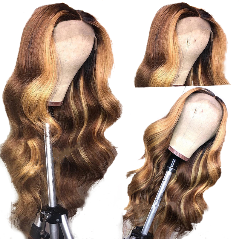 Eversilky Human Hair 13x4 Lace Front Wig Ombre Brown With Highlights Body Wave Wigs Brazilian Remy Hair Middle Part