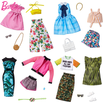 Original Barbie Accessories Barbie Clothes for Doll Toys for Girls Barbie Shoes Dress for Doll Clothes Doll Accessories Gift 9 item set doll accessories 3 pcs doll clothes dress 3 plastic necklace random 3 pairs shoes for barbie doll girl gift toy