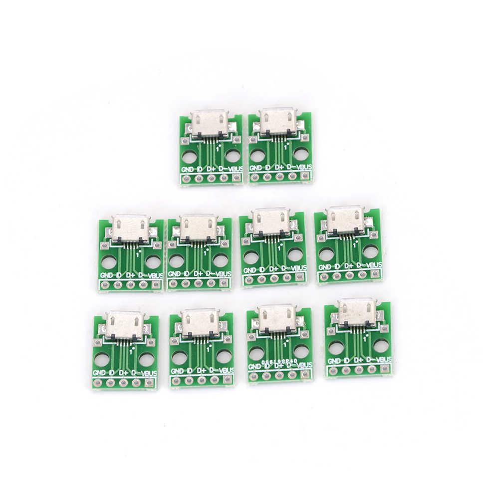 B Jenis PCB Konverter USB Kursi Berubah Menjadi DIP2.54mm DIP 10Pcs Micro USB untuk DIP Adapter 5pin Perempuan konektor