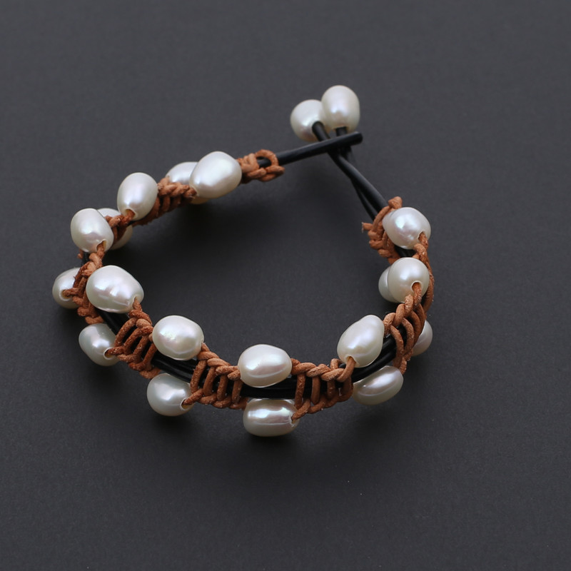 hot sell gift Wild handmade baroque freshwater natural white real pearl handmade genuine leather bracelet bangle