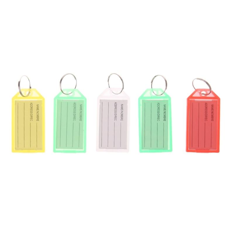 5 PCS Key Tags With Ring Keychain Key ID Label Luggage Name Keyring Tag Plastic