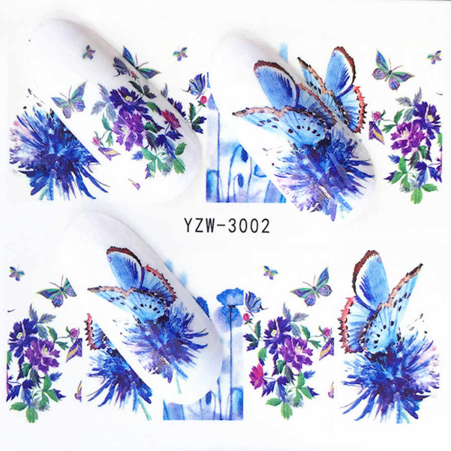 1Pcs/Verkopen Kawaii Vlinder Lavendel 3D Nail Sticker Bloem Lijm Diy Manicure Slider Nail Art Tips Decoraties Decals sexy