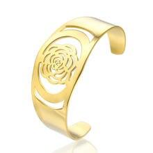 Полые розы цветы Открытый браслет для женщин нержавеющая сталь