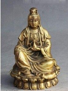 "Image 2 - י""מ 308 סיני בודהיזם פליז לשבת אגרטל משלוח קוואן yin GuanYin הבודהיסטווה אלת פסל"