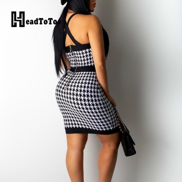 Houndstooth Print Colorblock Button Design Bodycon Dress OL Workwear Women Sexy Sleeveless Cross Back Halter Party Dress 2