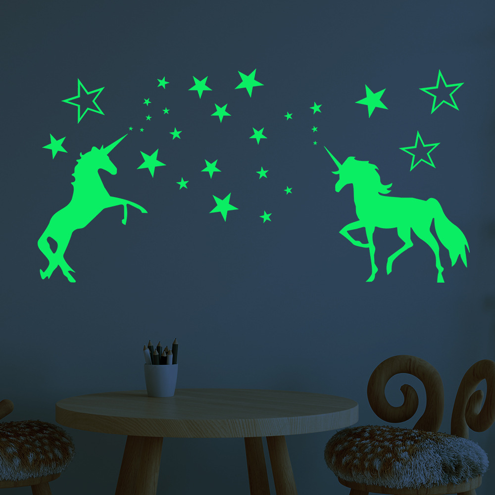 Luminous Stickers Cartoon Unicorn Cute Pony Star Pattern Creative Carved Fluorescent Sticker  Wall Decal Luminous Toy