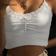 Sweetown Streetwear Lace Patchwork Summer Solid White Tank Top Women Home Fashion Leisure Outfit Casual Crop Tops Kawaii Clothes
