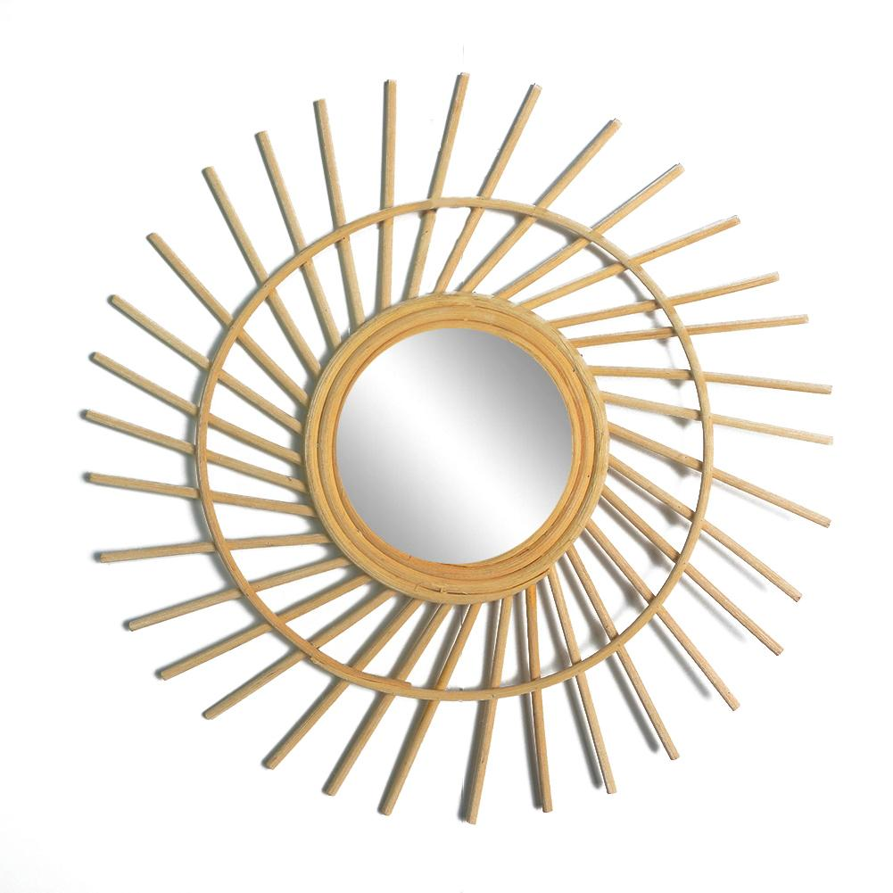 Permalink to 2019 Sun Shape Decorative Mirror Wicker Innovative Art Decoration Round Makeup Mirror Dressing Bathroom Wall Hanging Mirror