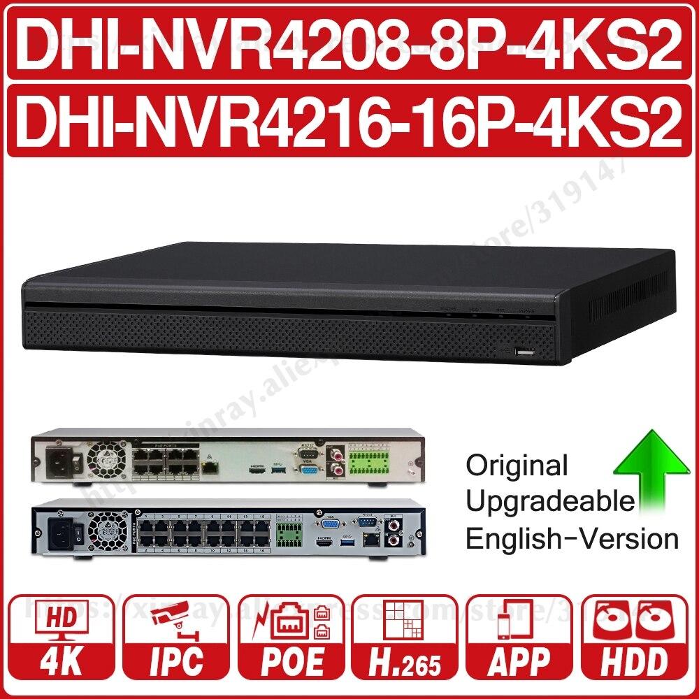 Dahua 4 k nvr NVR4208-8P-4KS2 NVR4216-16P-4KS2 com suporte porto poe 4 k poe h.265 2 sata para profissão ip câmera sistema de segurança