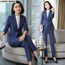 Elegant Striped Office Suits for Women Two Piece Pant Suit Korean Ladies Black Blue Pants Suits Office Work Blazer and Trouser