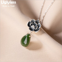 Uglyless Vintage Thai Silver Lotus Necklaces NO Chains Real 925 Silver Lotus Flower Pendants Women Water Drop Jade Jewelry P1047