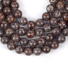 """Natural Coffee Snowflake Jaspers Round Loose Beads For Jewelry Making 4-12mm Spacer Fit Diy Bracelet Necklace 15"""" Strand"""
