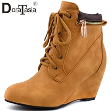 DORATASIA New Wedges Ankle Boots Woman Vintage Zipper Decoration Lace Up Lady High Heels Women Shoes Plus Size 34-48