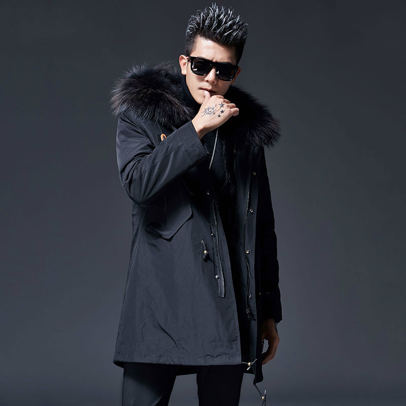Real Fur Coat Men WIinter Jacket Parka Hombre Racoon Fur Liner Plus Size Long Coat Manteau Homme Hiver MC18C035 KJ1205