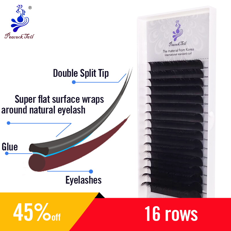 Split-Tips Flat Espllise Eyelash Extension Two Tips Eyelashes Extension Matte Black Lashes Extension 16rows/tray 0.15Cmix