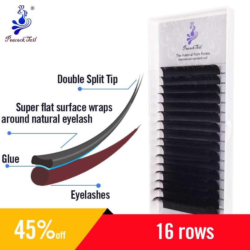 Split-Tips Flat Espllise Eyelash Extension Two Tips Eyelashes Extension Matte Black Lashes Extension 16rows/tray 0.15Cmix
