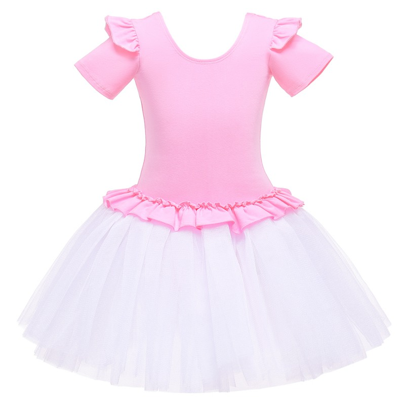Kids Dance Costume Ballerina Girls Ballet Dress Professional Dancewear Gymnastics Leotard Short Sleeves Practicing Dresses