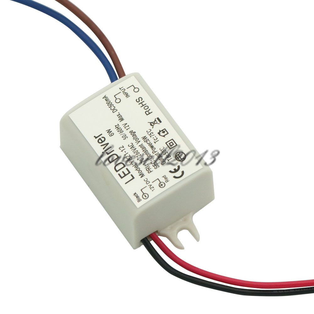 1PCS DC 12V 6W Watt High Power LED Driver Constant Current AC 170V-260V 50-60Hz 500mA