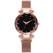Luxury Brand Starry Sky Watches for Women Stylish Ladies Gold Bracelet Stainless Mesh Magnetic Buckle Quartz Wristwatch
