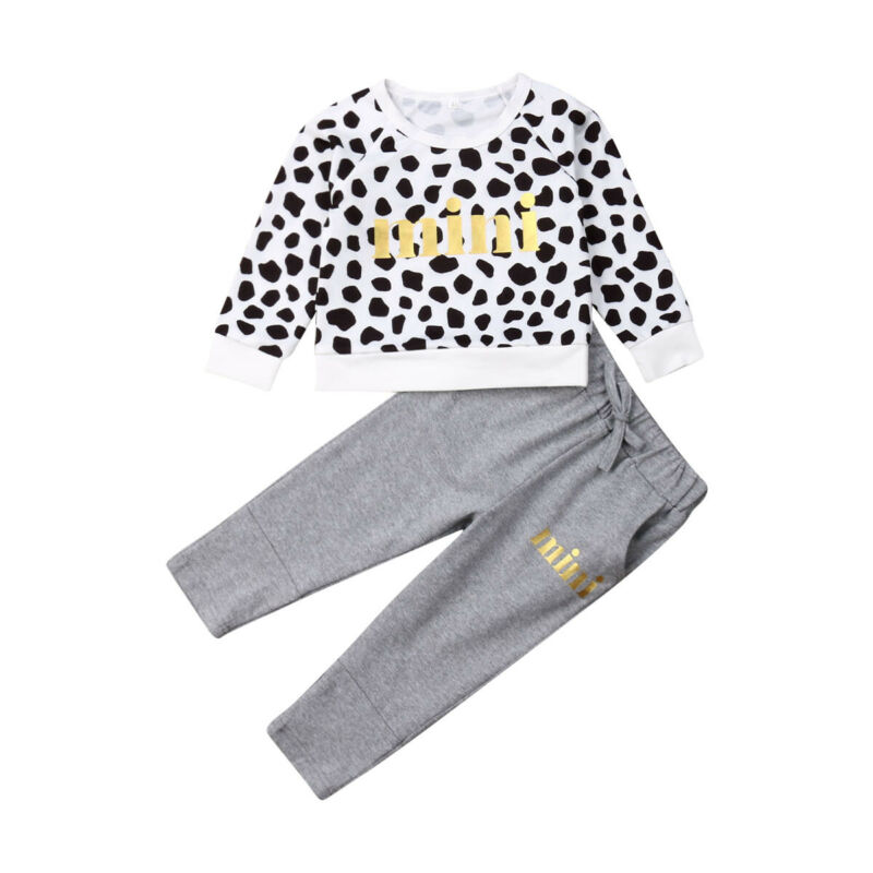 Tracksuit Pants Outfits Leopard-Tops Long-Sleeve Warm Toddler Baby-Girl Princess Mini