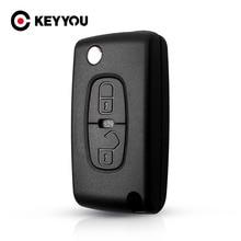 Keyyou caso chave do carro remoto chave escudo nova chave para citroen c crosser c4 fob MIT 11R lâmina 2 botão fob para peugeot 4007 e 4008