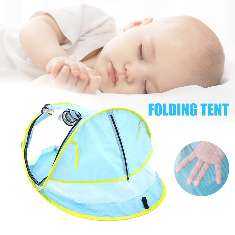 Portable Pop Up Baby Beach Tent UPF 50+ Sun Shelter Infant Mosquito Net for Baby Travel Bed with 2 Pegs Lightweight M09
