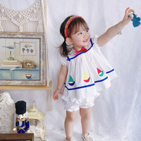 Custom made Girls Clothes Vintage Baby Girl Casual Children Navy Sets ,kids Clothes Baby Cute Dress Summer 2020 Skirt
