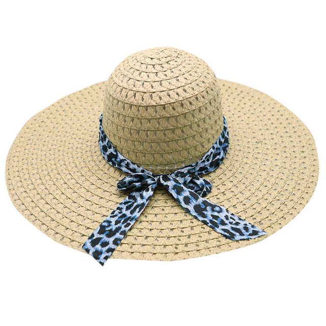 Summer Straw Hat Big Wide Brim Beach Hat Foldable Sun Block Uv Protection  2