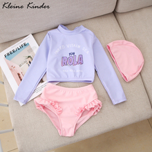 Swimwear Girl Bath-Clothes Beach-Wear Long-Sleeves Infant Children 3pieces with Swimming-Suit