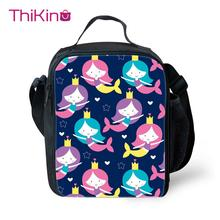 Thikin Cartoon Mermaid Pattern Lunch Bags for Teenagers Girls Fashion Portable Cooler Box Tote Picnic Pouch