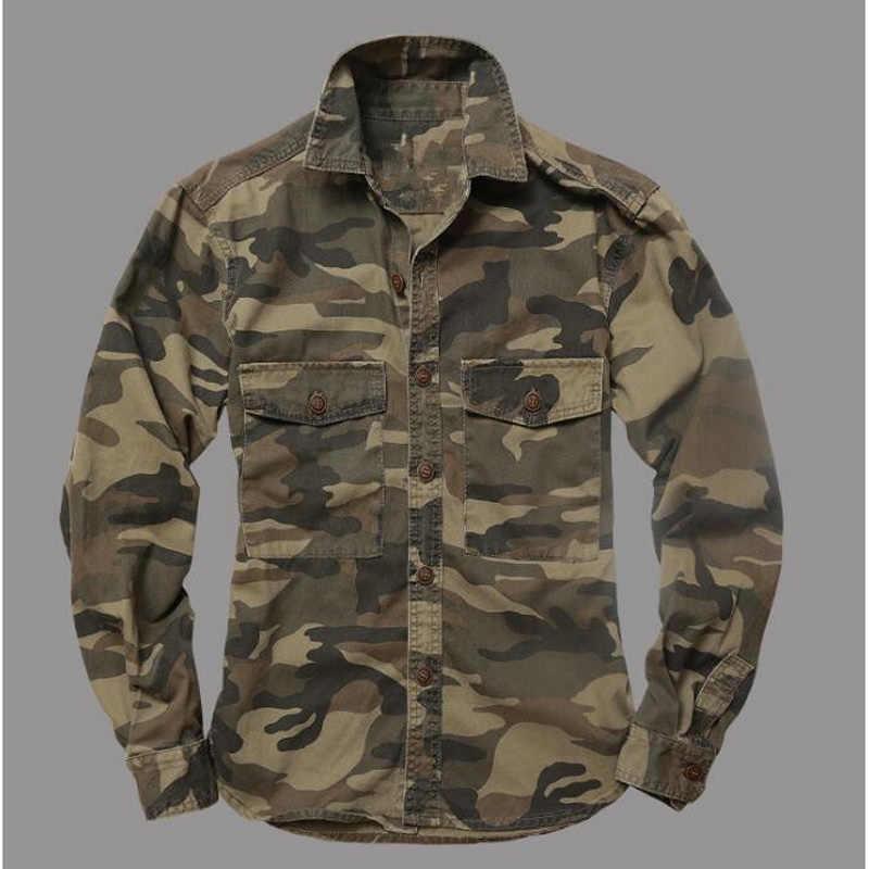 Górskie koszule moro mężczyźni koszula wojskowa kurtki z długim rękawem mundur w kolorystyce kamuflażowej pustynia dżungla męska topy odzież męska