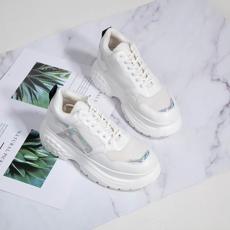 Image 2 - Womens Sneakers 2019 new fashion thick high platform women's sports shoes chunky casual tennis shoes ladies brand mesh shoes-in Women's Vulcanize Shoes from Shoes
