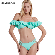 New Sexy Strapless Bikini Women Swimsuit Off Shoulder Bathing Suit S-XL Girl Multi Layer Ruffled Swimwear Solid Green Set