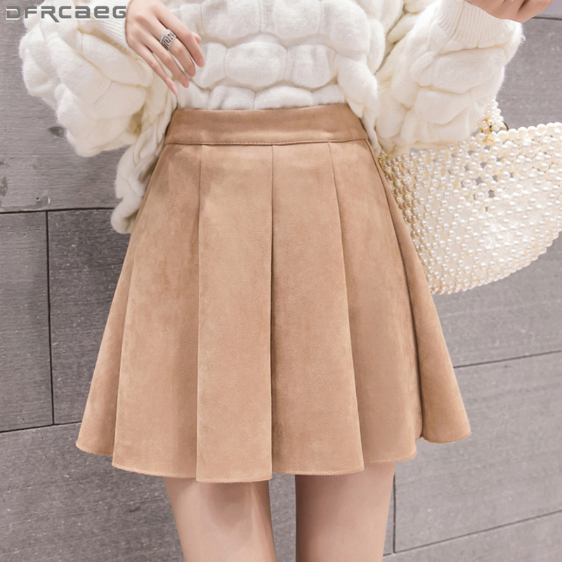 Kawaii Mini Pleated Skirts Women Autumn Winter Velvet Suede Skirt High Waist A-line Skater Skirt School Brown Pink Black Saias