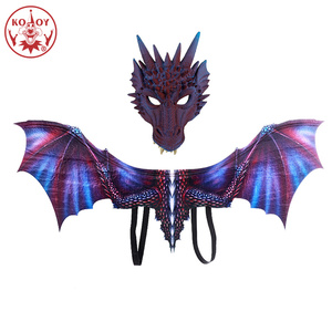 Image 4 - KOOY Adult Boy and Girl Kids Halloween Decoration Carnival Party Animal Costume Dragon Cosplay Masquerade Face Mask and Wing