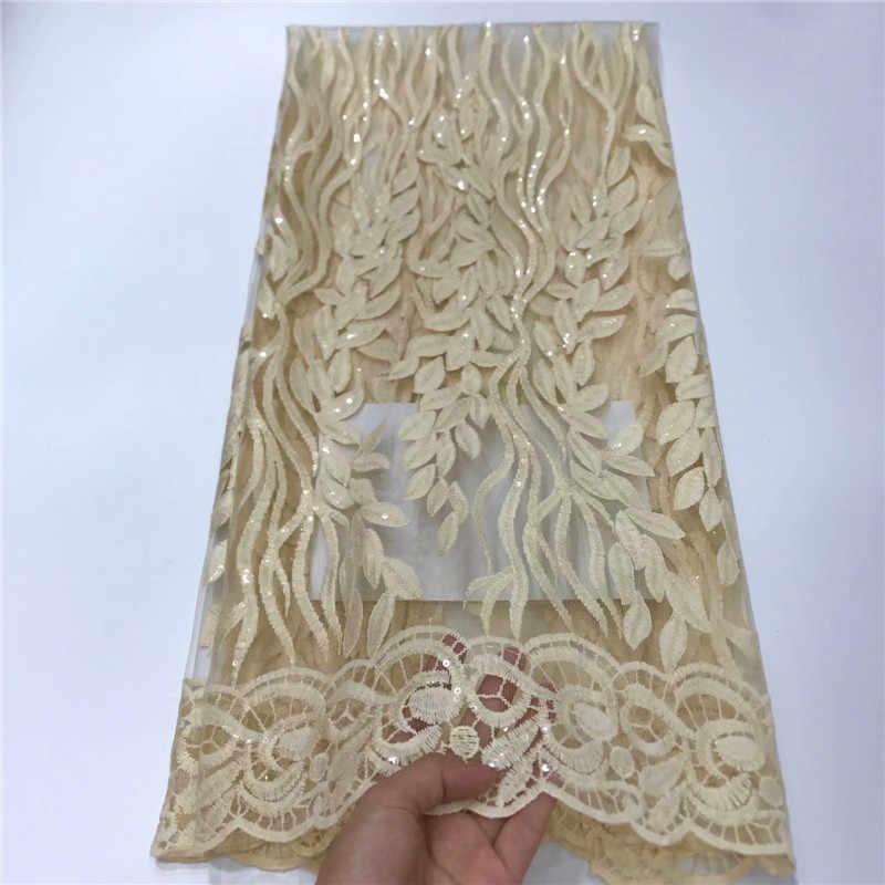2019 สีเหลืองคุณภาพสูงภาษาฝรั่งเศสคำ 3D Tulle เลื่อมลูกไม้แอฟริกันผ้า Sequins ปักลูกไม้ไนจีเรียผ้าสำหรับ Wowen ชุด