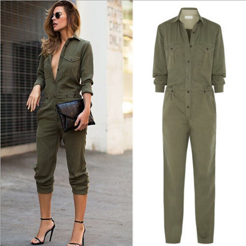 Autumn Women Armygreen Jumpsuit Turn-Down Collar Sexy Button Lady Romper Long Sleeve Overall Pencil Pants Jumpsuit