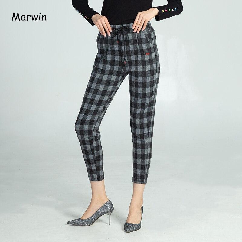 Marwin, зимние плотные клетчатые повседневные штаны в тонкую полоску, модная одежда для отдыха, брюки с высокой талией, повседневные эластичны...