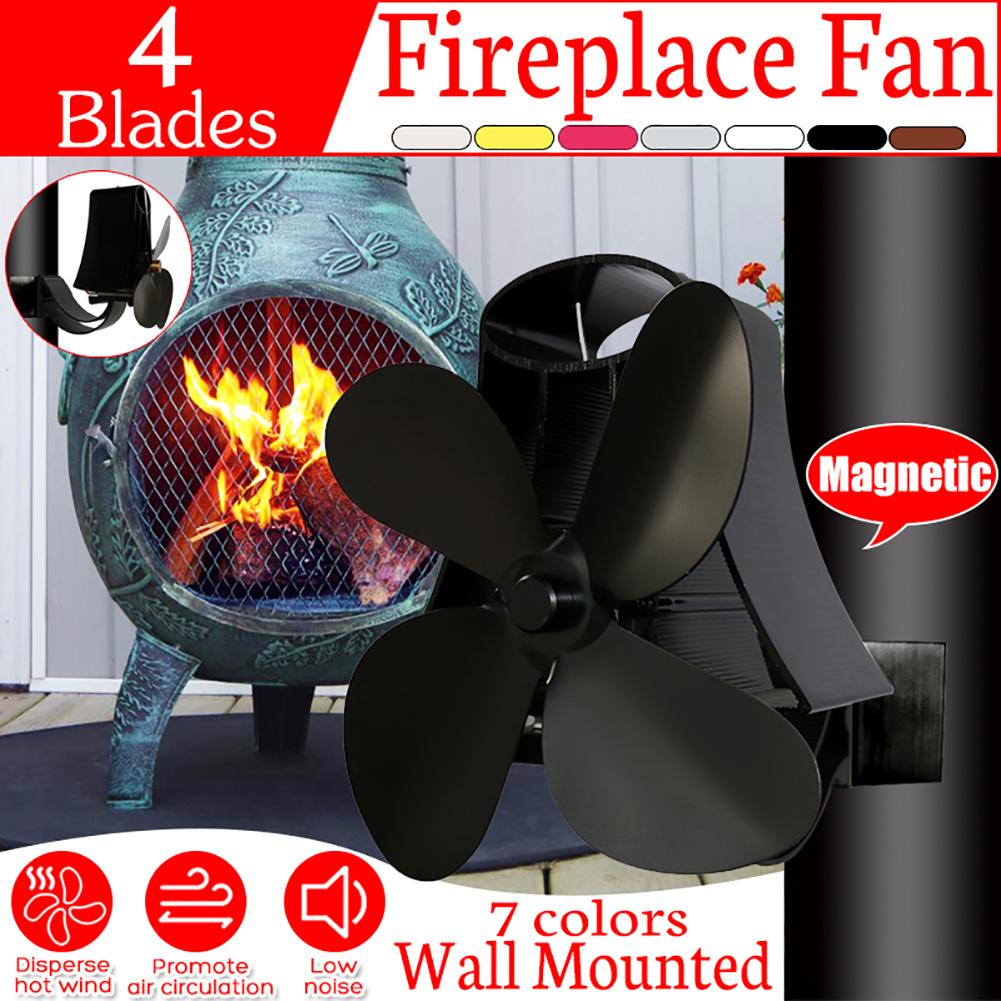Anti-Dirty Black Stovepipe Fan Ventilation Duct Mounted 4 Blades Fireplace Fan Heating Distribution Flue Pipe Radiator