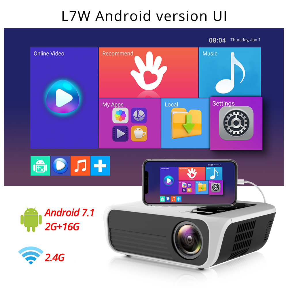 Image 3 - Touyinger L7 LED Native 1080P Projector 4500 Lumens full HD beamer Video Android 7.1 wifi AC3 Bluetooth Home cinema HDMI-in LCD Projectors from Consumer Electronics