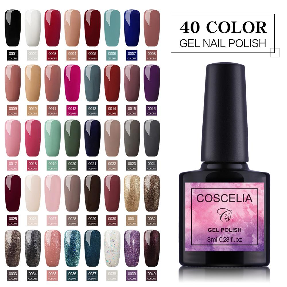COSCELIA UV Gel Nail Polish Set Color UV LED Nail Gel Varnish Semi Permanent Nail Soak Off Sequins Gel