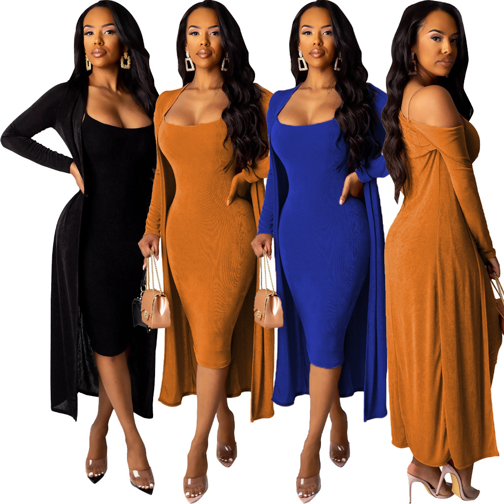 Autumn Women Solid Velvet Bodycon Spaghetti Strap Midi Dress & Long Sleeve Clock Coat Sexy Night Club Dresses GL6236