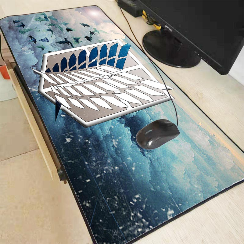 Mairuige Attack On Titan Anime Large Lock Edge Mouse Pad Computer Mousepad Logo Gaming Padmouse Gamer Laptop Keyboard Mouse Mats