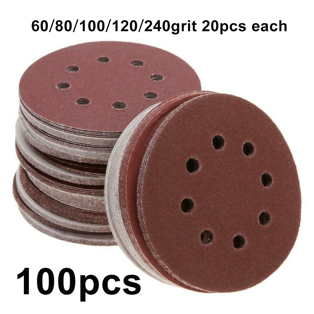 100pcs 5 Inch 125mm Mix Grit Round Sandpaper Hook And Loop Eight Hole Disk Sand Sheets Sander Discs Polishing Pads Abrasive Tool