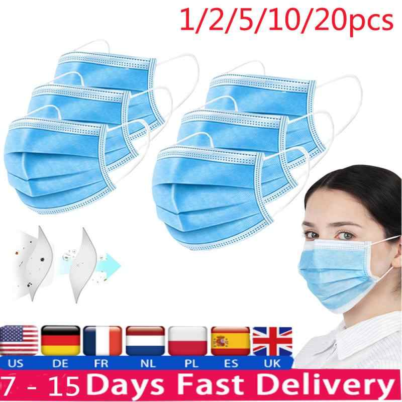 1/2/5/10pcs 3 Layer Protective Mask Anti Dust Mouth-muffle Face Masks Men Women Anti Fog Face Mouth Masks Breathable Mouth Cover