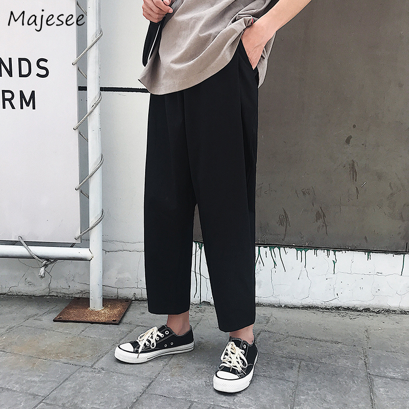 Pants Men Solid Casual Loose Plus Size Ankle-length Mens Sweatpants Harajuku Males High Quality Hip Hop Trousers All Match Chic