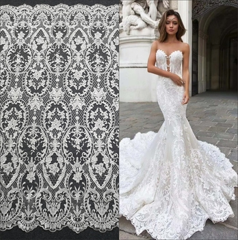 high-end encrypt embroidery lace sequin lace fabric wedding dress diy net yarn cloth clothing decoration accessories white lace 110cm wide wedding dress lace embroidery diy women clothes materials clothing fabric accessories ivory white church happy hour
