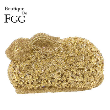 Boutique De FGG Rabbit Bunny Women Gold Crystal Minaudiere Clutch Evening Bag Diamond Wedding Party Bridal Animal Handbag Purse